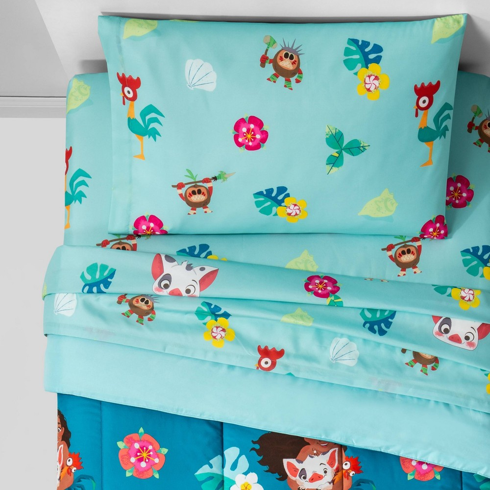 Image of Moana Twin Flower Power Bedding Set Blue