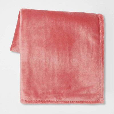 Solid Plush Throw Blanket Pink - Room Essentials™