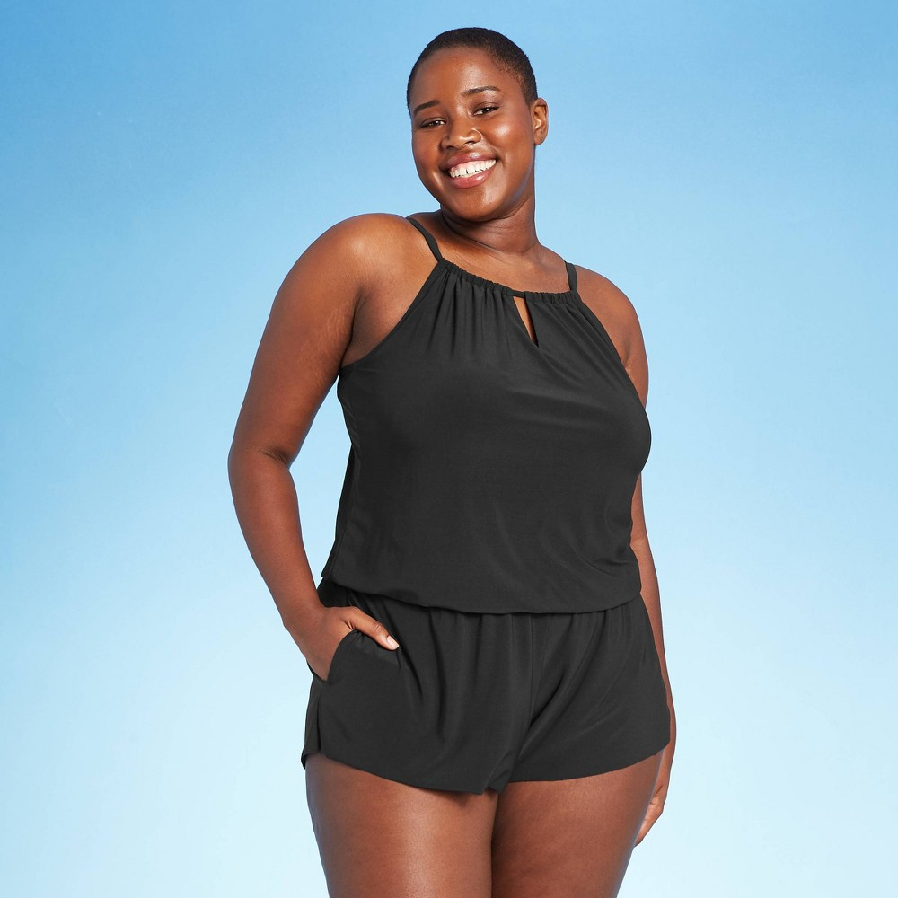 1930s Swimsuits- Ladies' Bathing Suits History Womens Plus Size High Neck Swim Romper with Pockets - Aqua Green Black 26W $47.99 AT vintagedancer.com
