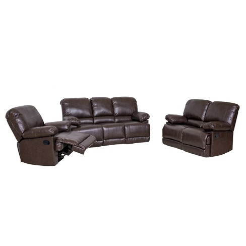 Leather Reclining Sofa Set of 3 Chocolate Brown - CorLiving