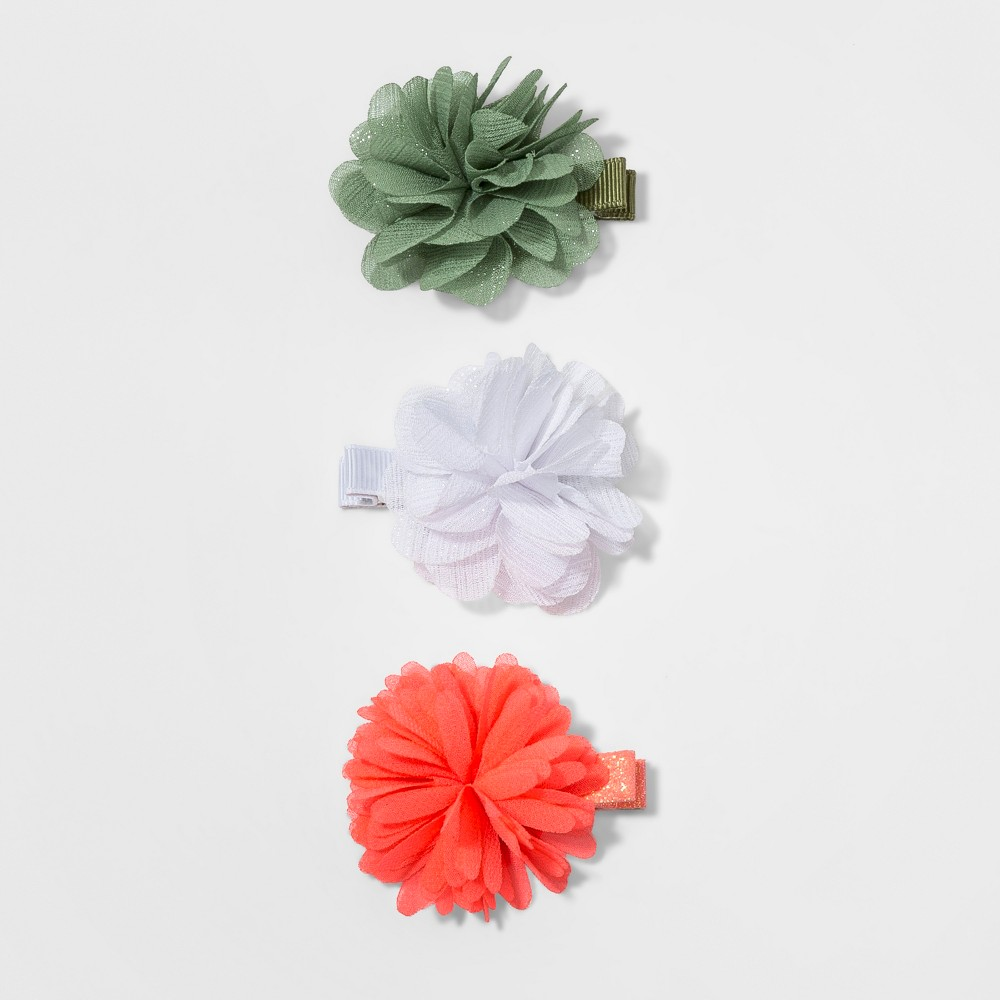 Toddler Girls' 3pk Flower Hair Clips - Cat & Jack Green/White/Orange