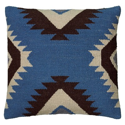 Blue/Black Southwestern Stripe Throw Pillow 18 x18  - Rizzy Home®