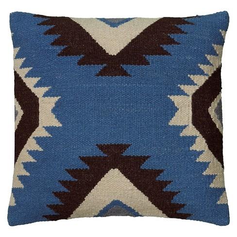 "Blue/Black Southwestern Stripe Throw Pillow 18""x18"" - Rizzy Home - image 1 of 2"