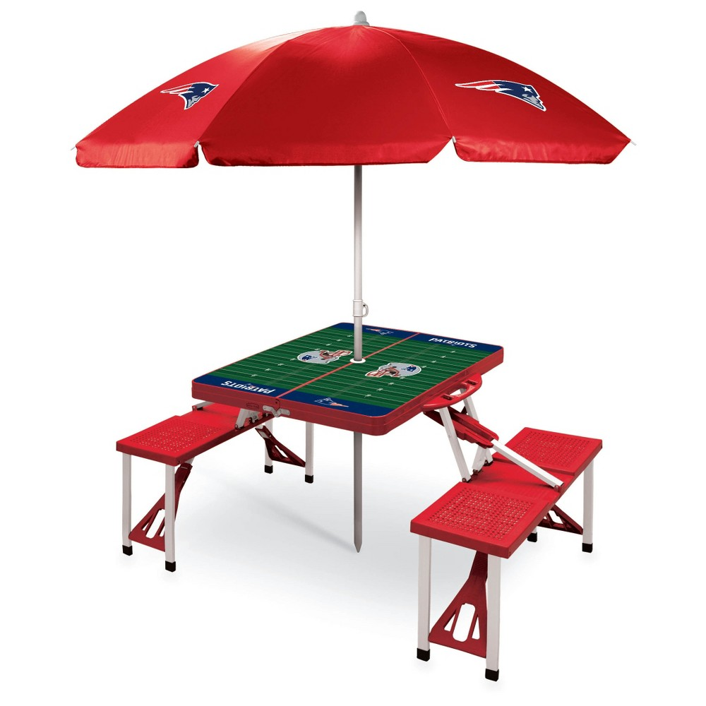 New England Patriots Picnic Table Sport with Umbrella by Picnic Time - Red
