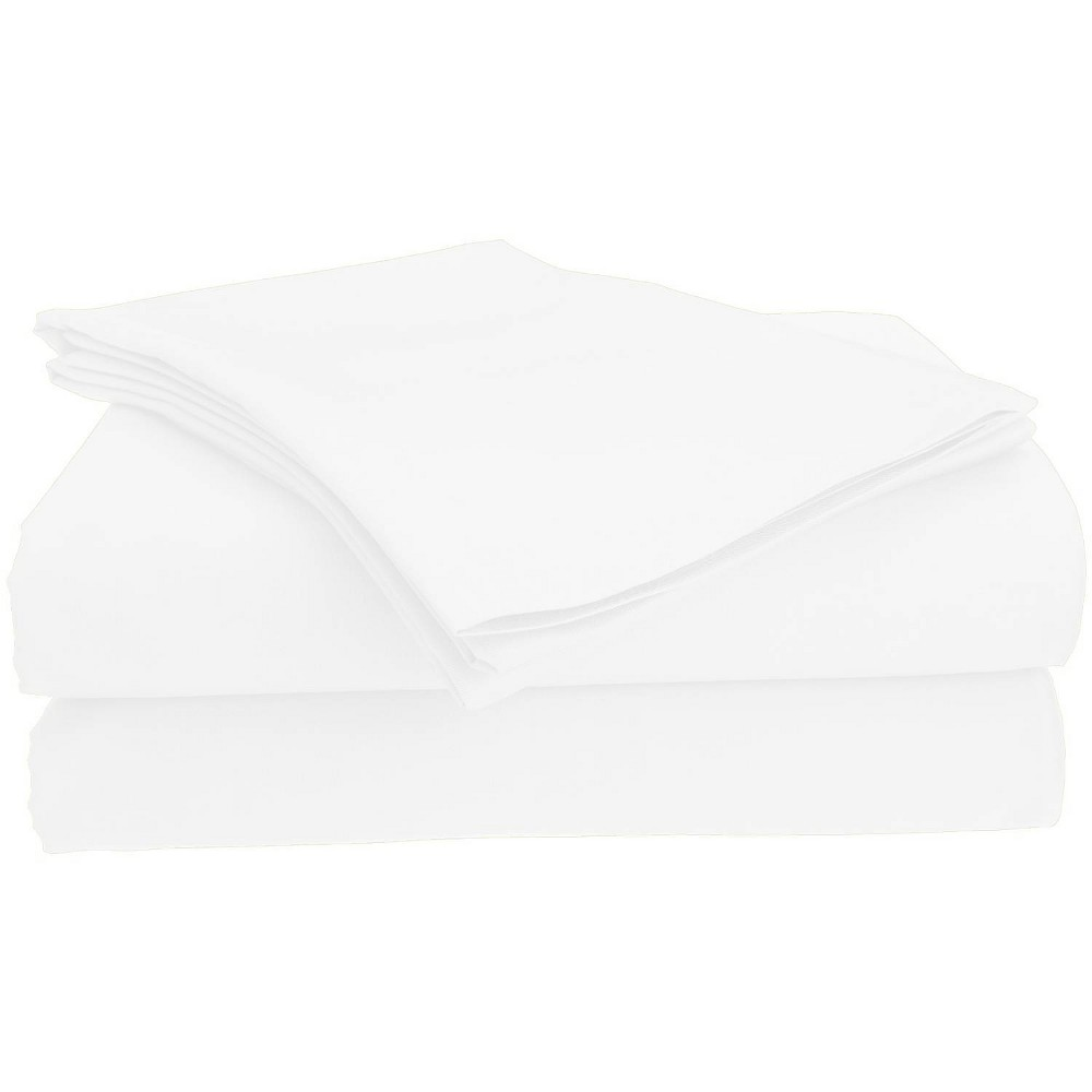 Image of Full Garment Wash Microfiber Solid Sheet Set White - Posh Home