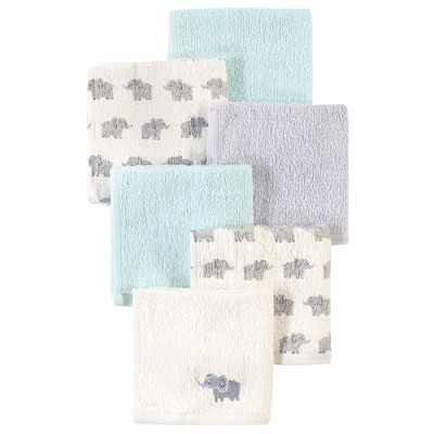 Luvable Friends Baby Boy Super Soft Cotton Washcloths, Elephant With Hat, One Size