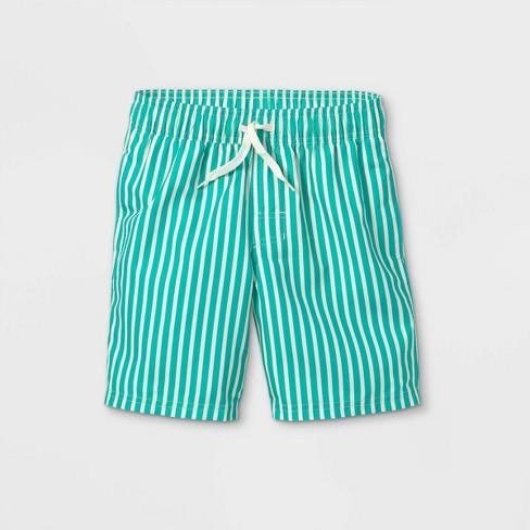 Boys' Vertical Striped Swim Shorts - Cat & Jack™ Green  - image 1 of 2