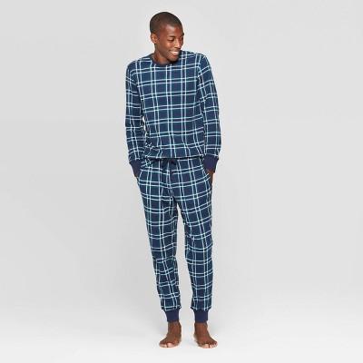 Men's Family Pajama Blue Plaid Set   Blue by Blue