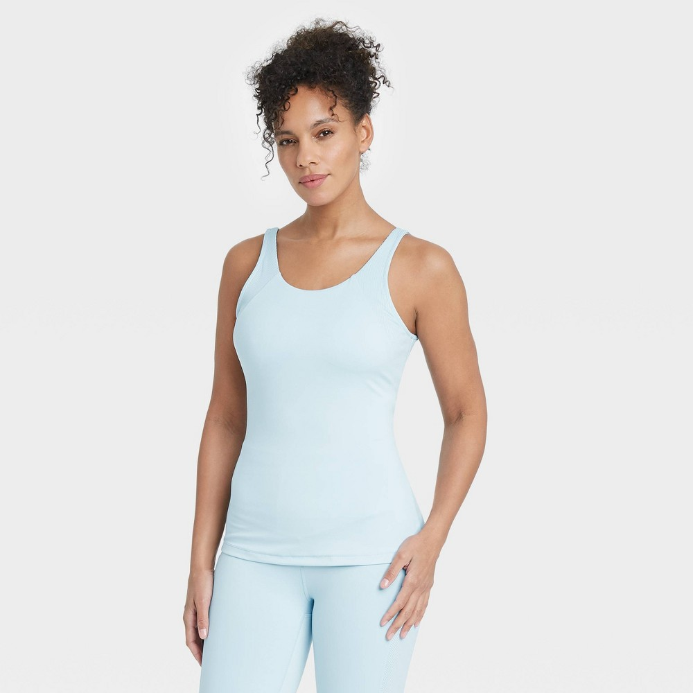 Women 39 S Scoop Back Tank Top With Shelf Bra All In Motion 8482 Air Blue M