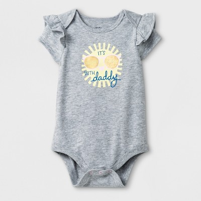 Baby Girls' Short Sleeve  Its Always Sunny with Daddy  Bodysuit - Cat & Jack™ Heather Gray 3-6M