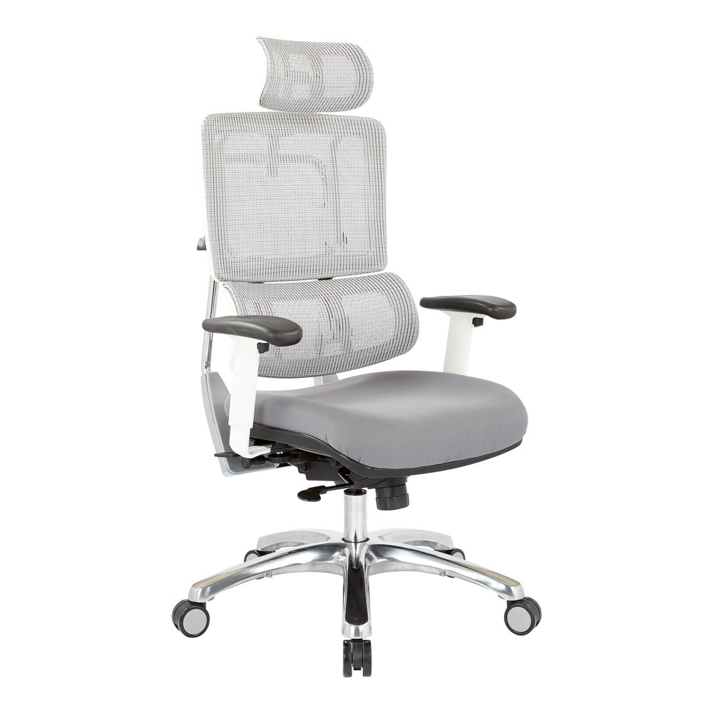 Breathable Vertical Mesh Chair With Steel Fabric Seat With Headrest White - Osp Home Furnishings