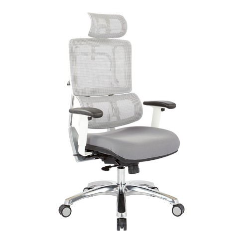 Breathable Vertical Mesh Chair With Steel Fabric Seat And Polished Aluminum With Headrest White - OSP Designs - image 1 of 5