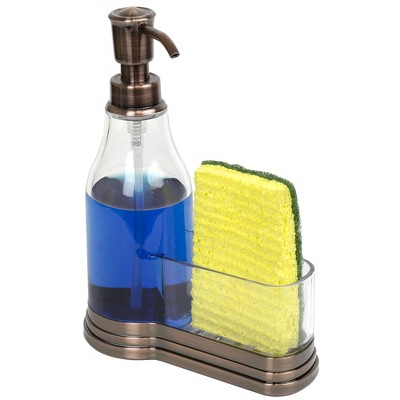 Home Basics Plastic Soap Dispenser with Brushed Steel Top  and Fixed Sponge Holder
