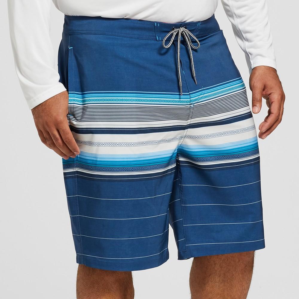 Men's Big & Tall Striped 10 Citation Board Shorts - Goodfellow & Co Blue 44