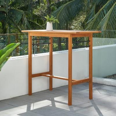 Gloucester Contemporary Wood Rectangle Patio Bar Table - Vifah