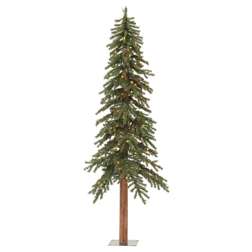9ft Pre-Lit Artificial Christmas Tree Full Natural Alpine with Multicolored Lights, Green