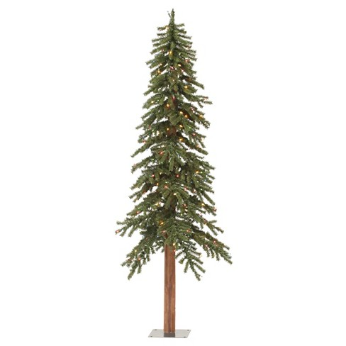 2ft Pre-Lit Artificial Christmas Tree Natural Alpine - Multicolored ...