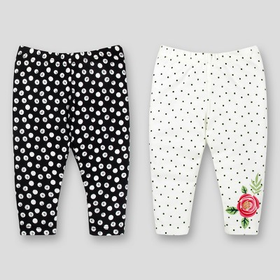 Lamaze Baby Girls' Organic 2pk Printed Pants - Black/white Newborn