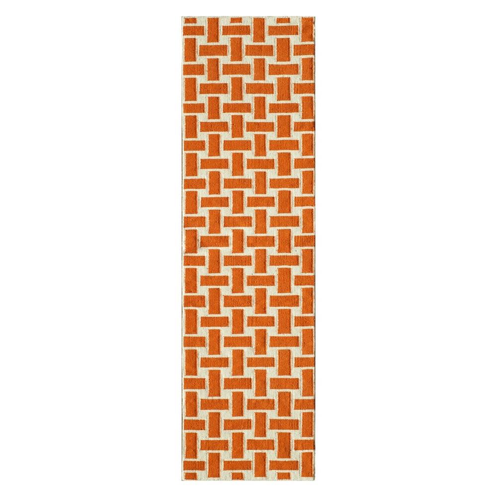 2'3X8' Geometric Woven Runner Orange - Momeni