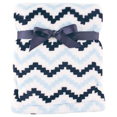 Hudson Baby Super Plush Blanket - Blue Chevron