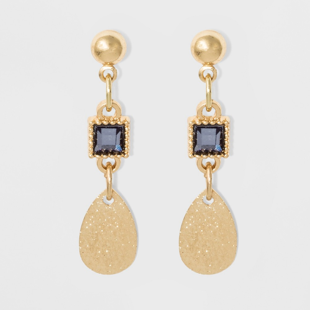 Stones and Metal Coin Earrings - A New Day Blue/Gold