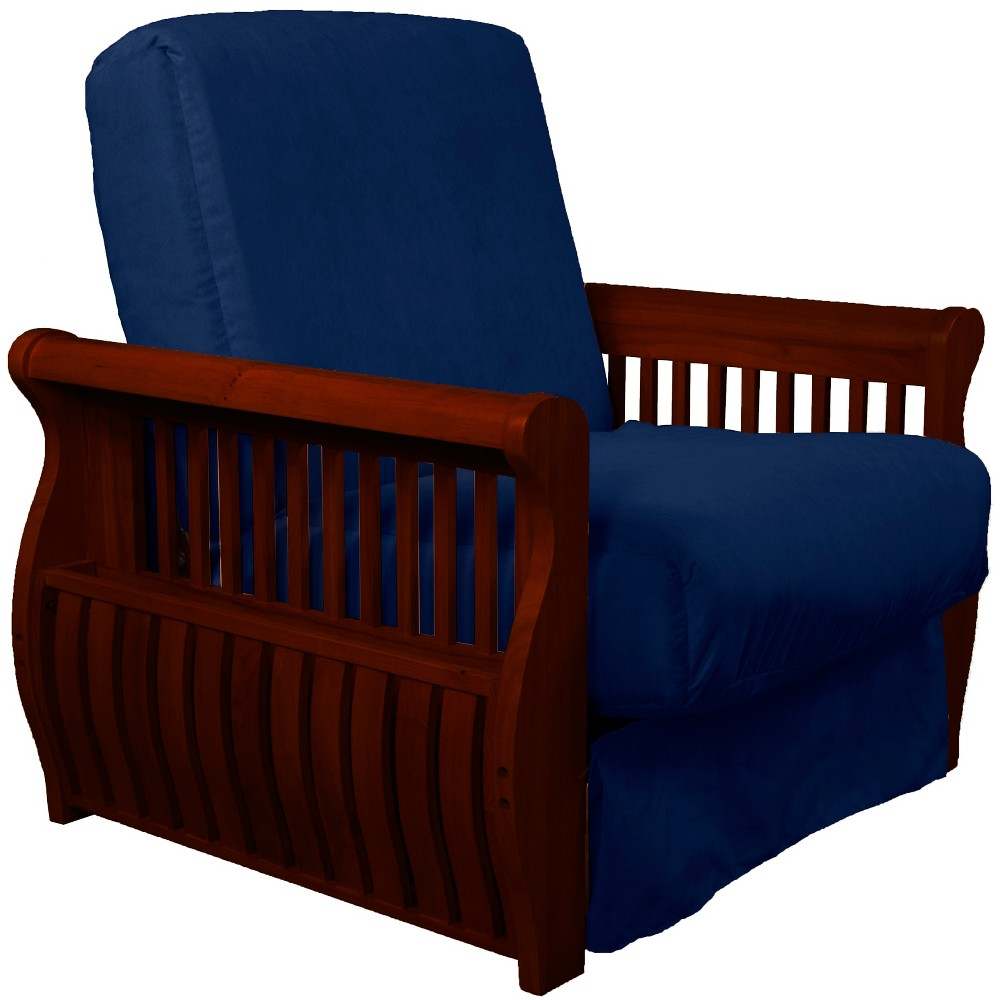 Storage Arm Perfect Futon Sofa Sleeper Mahogany Wood Finish Dark Blue - Epic Furnishings