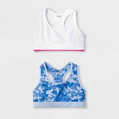 Girls' 2pk Raceback Sports Bra - Cat & Jack™ White/Blue