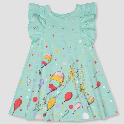 Toddler Girls' Dr. Seuss A-line Dress - Aqua 2T