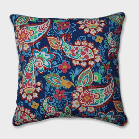"""25"""" Paisley Party Coral Floor Pillow Blue - Pillow Perfect - image 1 of 1"""