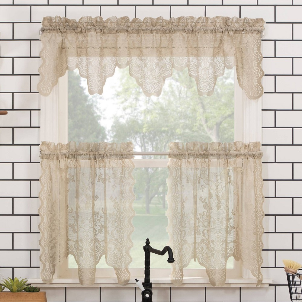 36 34 X58 34 Alison Floral Lace Sheer Rod Pocket Kitchen Curtain Valance And Tiers Set Beige No 918