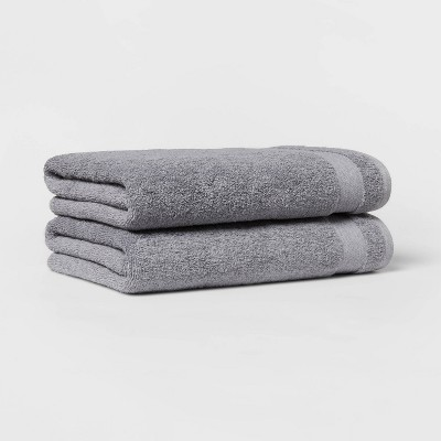 2pk Bath Towel Set Flat Gray - Made By Design™