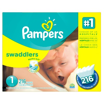Pampers Swaddlers Diapers Economy Plus Pack Size 1 (216 ct)