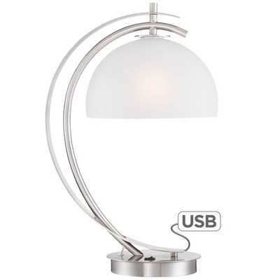 Possini Euro Design Modern Desk Table Lamp with USB Charging Port Brushed Steel Curved Frosted Glass Dome Shade for Bedroom Office