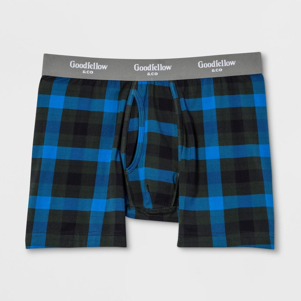 Men's Plaid Boxer Briefs - Goodfellow & Co Blue XL
