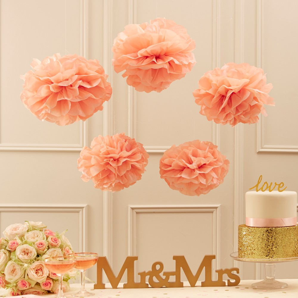 Image of 5ct Tissue Paper Pom Poms Pastel Pink