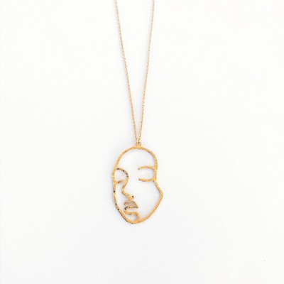 Sanctuary Project Hammered Modern Art Statement Face Pendant Necklace Gold