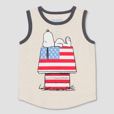 Toddler Boys' Peanuts Americana Snoopy Sleeveless Tank Top - Beige - image 1 of 2