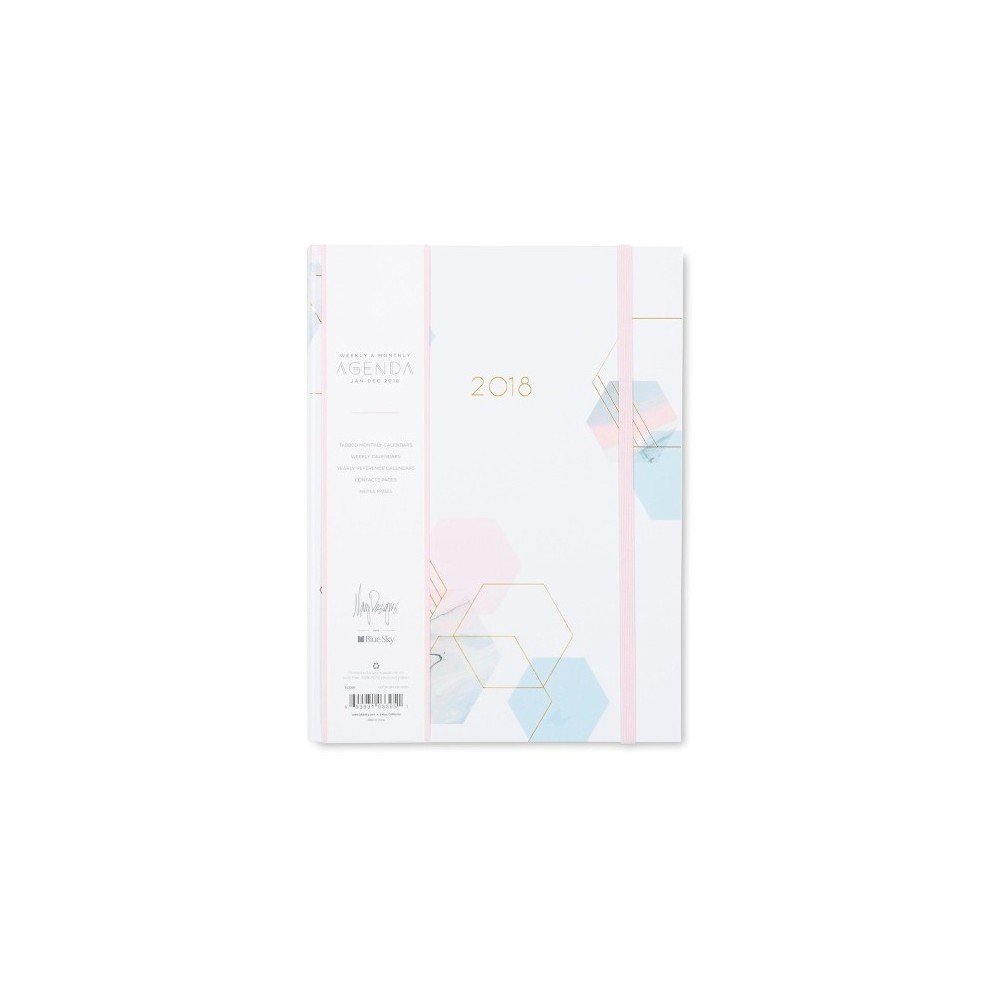 2018 May Designs Planner Weekly Monthly Medium Hardcover With Bungee - Hexagons
