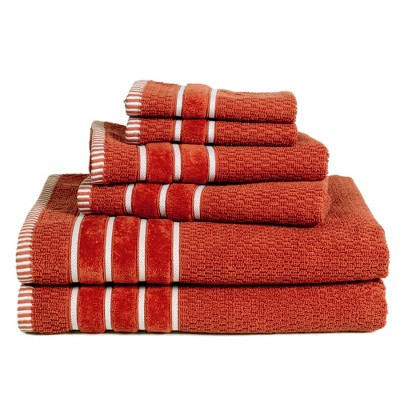 6pc Combed Cotton Bath Towels Sets Lava - Yorkshire Home