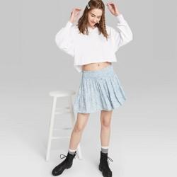 Women's Floral Print High-Rise Smocked Mini Skirt - Wild Fable™ Blue