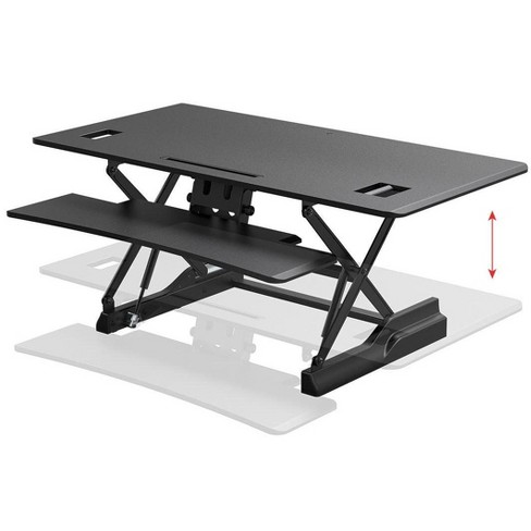 "Monoprice Full-Size Sit-Stand Workstation Converter - 47.2 x 23in Table Top, Dual Display, Height Adjustable 5.9""-19.7"" Max, Works With Most Desks - - image 1 of 4"