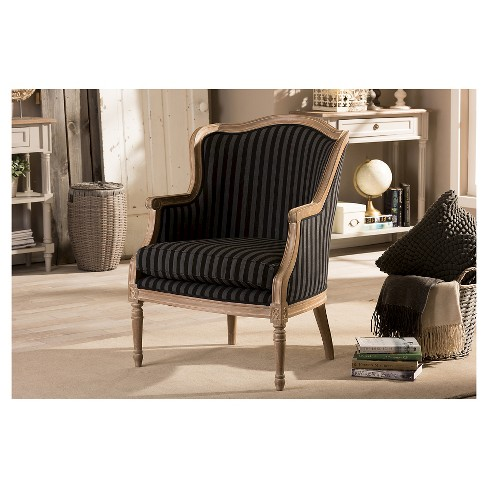 Beige Accent Chairs With Blue Stripes.Charlemagne Traditional French Blue Stripe Accent Chair Baxton Studio