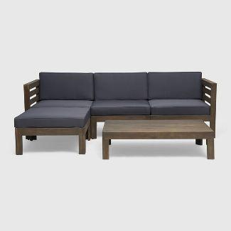 5pc Cambridge Acacia Wood Patio Sofa Set Gray - Christopher Knight Home