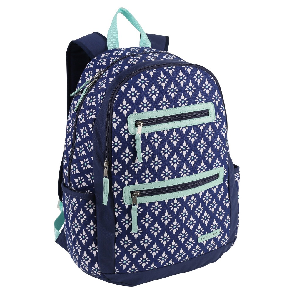 Laura Ashley 17 Kylie Kids' Backpack, Blue Take your items wherever you go with this durable backpack from Laura Ashley, featuring a zip closure. The blue color and fleur de lis pattern make it a stylish choice. Gender: Female.