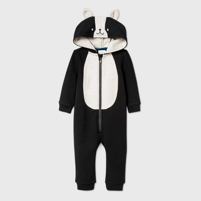 Baby Long Sleeve Skunk Romper - Cat & Jack™ Black 12M