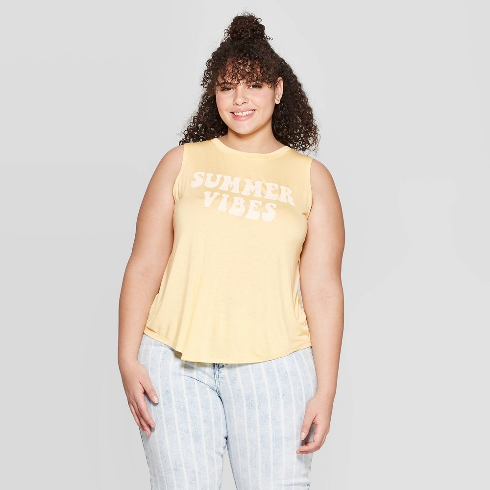 Women's Plus Size Summer Vibes Scoop Neck Tank Top - Grayson Threads (Juniors') - Yellow 3X Join in on the summer mood with the Women's Plus Size Summer Vibes Scoop Neck Tank Top for Juniors from Grayson Threads. This tank top comes in a cheerful yellow with  Summer vibes  printed on it in white. The top is made of rayon and spandex for comfort, is sleeveless and has a scoop neck. This top makes for a great addition to your summer wardrobe. Size: 3X. Gender: Female. Age Group: Adult. Pattern: Letters.