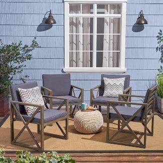 Andora 4pk Acacia Wood Club Chairs - Gray/Dark Gray - Christopher Knight Home