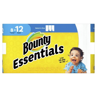 Bounty Essentials Select-A-Size Paper Towels White - 8 Singles Plus Rolls - 12 Regular Rolls