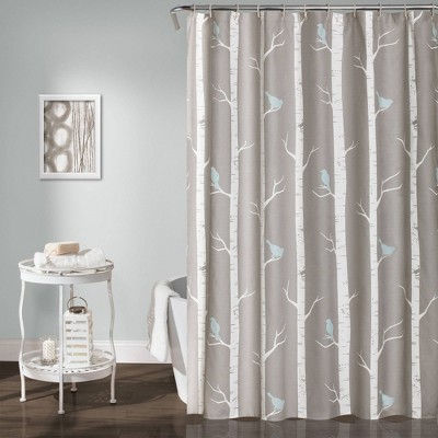 Bird on the Tree Shower Curtain Gray/Blue - Lush Décor