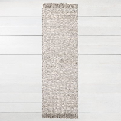 "2'4"" x 7' Bleached Jute Fringe Runner Gray - Hearth & Hand™ with Magnolia"